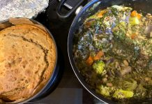 Vegetarian cake and curry