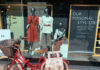 John Lewis Cambridge shop window with bike