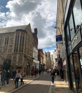 Fatface shopping street and University of Cambridge