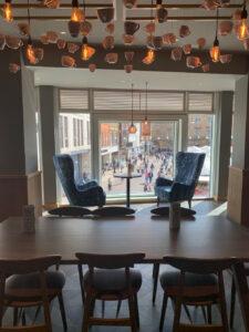 Starbucks cafe Cambridge view through to Market Square