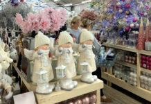 Ladies browse Xmas decorations Polhill garden centre Kent