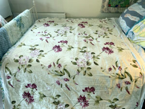 Blendworth Fabric laid out on bed
