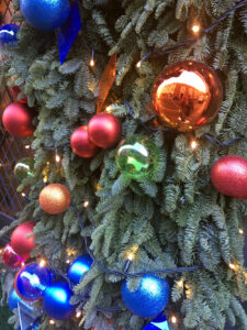 Westminster coloured baubles on tree (detail)