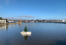 Xmas tree in boat Emsworth Mill Pond
