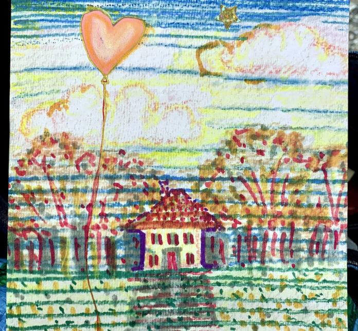 'House in woods heart balloon' (detail) art card by A Howse