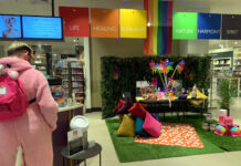 Pride festival celebration area at John Lewis Southampton