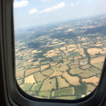 View from aircraft window heading towards France from UK, photo by A Howse