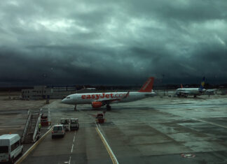 EasyJet aircraft with stormy sky Gatwick photo by A Howse