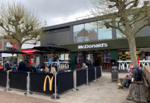 Mc Donald's famous 'golden arches' brand design featured in new outdoor cafe in Hampshire